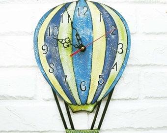 The Hot Balloon Wall Clock Home Decor for Children Baby Kid Boy Girl Nursery Playroom Stripes