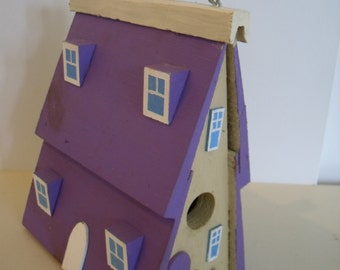 Vintage Hand Made Birdhouse in Purple