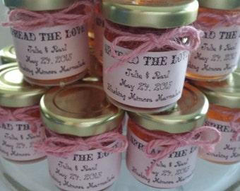 Pink Vintage Jam Favors/ 50 Spread The Love Favors / 1.5 Oz Ea/ Spring Wedding/ Pink Bridal or Pink Baby Shower / Engagement/ SAVE the DATE