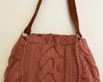 Mauve hand-knit cabled purse