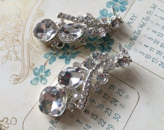 Bridal bridesmaids earrings, rhinestone earrings, wedding jewelry, statement earrings, Victorian earrings, crystal pierced earrings, chandel