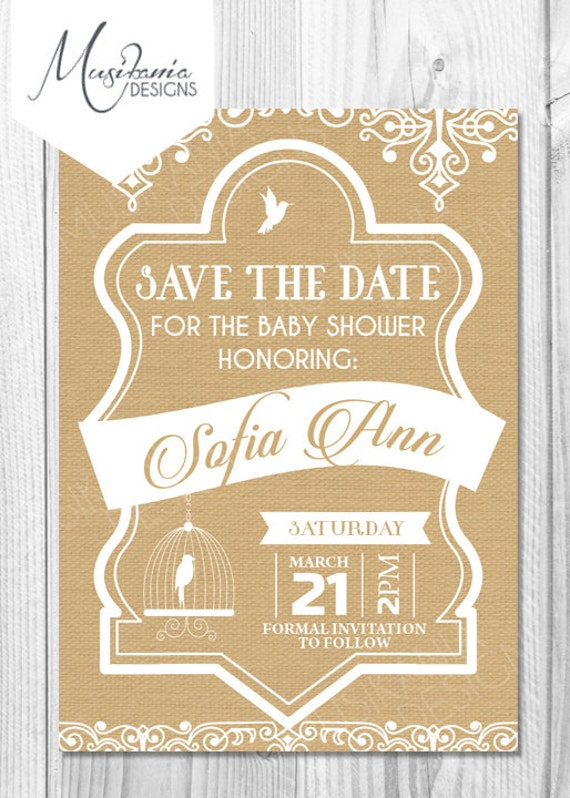 Items Similar To Rustic Save The Date, Burlap Baby Shower, Rustic Bird  Cage, Burlap Save The Date, Rustic Baby Shower, Printable, Shabby Chic, ...