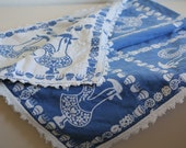 SALE 50 OFF Vintage Tea Towel Tablecloth Portuguese Rooster Pattern White Blue Home Decor