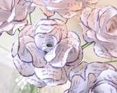 Paper Anniversary  Paper Roses Printed with First Song Lyrics White with Purple Edges and Print Customize the Colors and Print Set of 12
