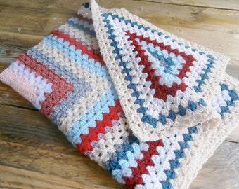 Vintage Crochet Knit Blanket