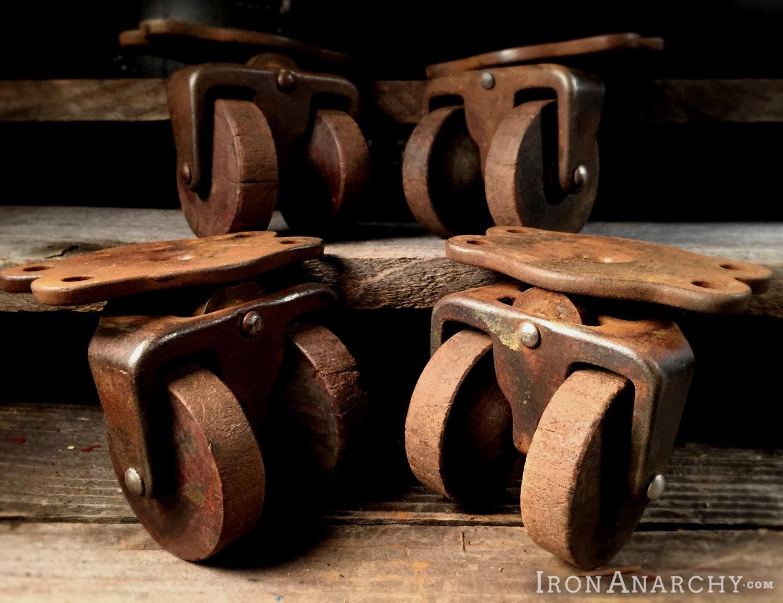 Antique Double Wheel Furniture Caster Set Vintage Old Wood Cabinet Table Stem Castor Wheels