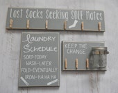 Laundry Room Decor Combo....In Gray...Missing Socks,change jar....Customizable...HAVENSPLACE....cute clothepins