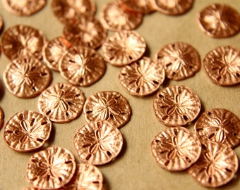 10 pc. Tiny Raw Copper Sand Dollars: 11mm by 11mm - made in USA | RB-517