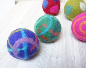Wool rattle ball large multicolor felted striped green blue pink yellow purple teal mint orange baby cat dog pet toddler toy game play catch