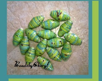 15 Hand Made,  Paper Chunky Beads.