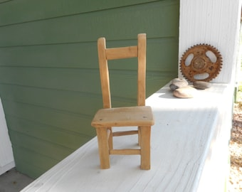Small Handmade Wooden Chair for chair collector - 6 3/8 inches high (six and three-eights inches)