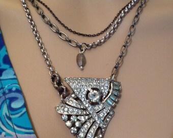 Art Nouveau Necklace Repurposed  20-30's Fur/ Dress Clip Mixed Triple Chains Rhinestones Crystal Labradorite Pendant Antique Silver OOAK
