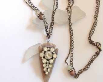 Vintage Rhinestone Arrow Head Repurposed Necklace Long Double Chains Stationed Agates Bohemian Original Anthro Assemblage WishAnWearJewelry