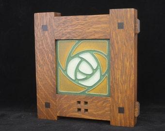 Motawi Hunter Rose Tile in Mission Style Frame