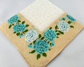 Cream With Turquoise Carnations Hankie for Collecting, Framing, Sewing, Crafts, Collage    S21