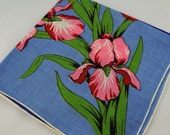 Vintage Hankie, Stunning and Large, Blue With Red Iris for Collecting, Framing, Sewing, Crafts, Collage  F18