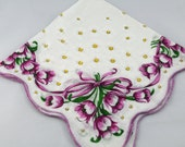 Vintage Hankie Handkerchief, Lavender and White, Stunning for  Framing, Sewing, Crafts, Collage W12