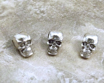 Three (3) Pewter 7mm Skull Beads with Large Vertical Hole - 0437