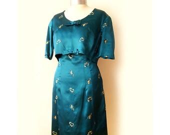 Vintage dress with bolero jacket 60's, two piece set vintage dress set , turquoise dress.