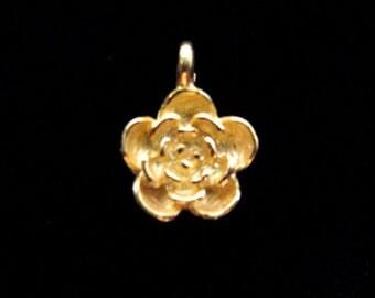 SALE Gold Vermeil Flower Charm 1 pcs Rose Charm 13 mm CH209