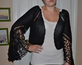 Angel Wings Black Crochet Hand Made Cardigan