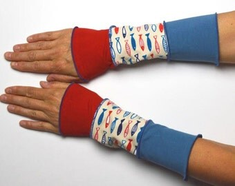 Mittens Arm Warmers summer 3 colours Wrist Warmers patchwork cotton fish red blue