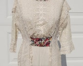 Vintage 1912 Titanic Era Lace, Eyelet And Embroidered White Lawn Woman's Dress