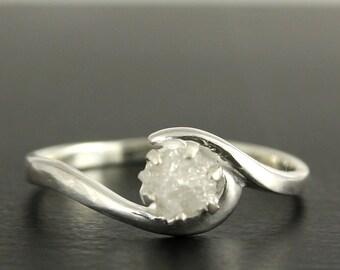 White Rough Diamond Engagement Ring - Sterling Silver Prong Set Ring - Raw Uncut Diamond Stone Large - Snowy White diamond