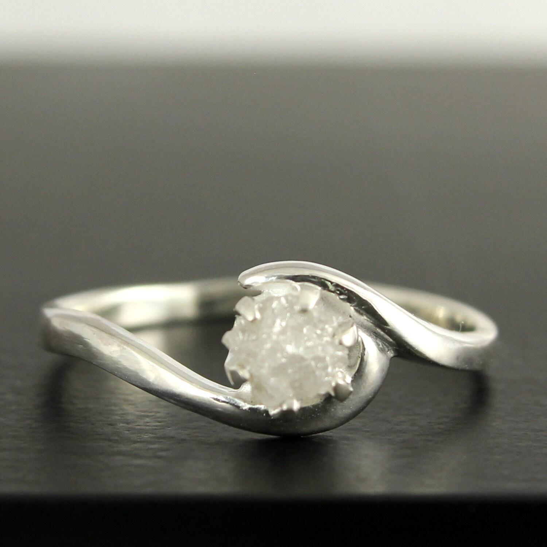 Raw Diamond Rings Raw Diamond Ring Milky White Pear Shaped Rose