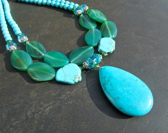 Turquoise Statement Necklace, Big Bold Chunky, Blue Turquoise, Green Agate, Boho Chic, Stone Jewelry, Gift for Her, Double Strand 938