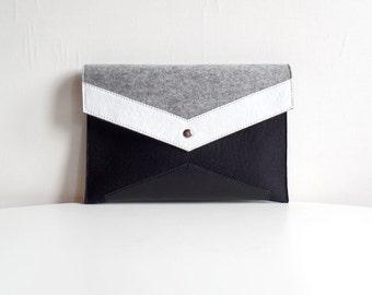 Geometric Black Gray White Wool Felt Genuine Leather Clutch Bag