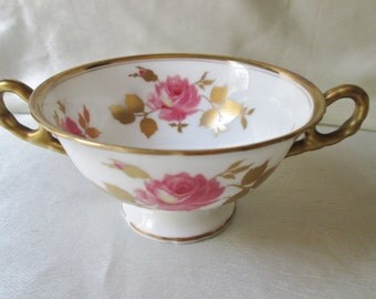 SALE Beautiful Limoges Cream Soup Cup, Rose, Gold Leaves, Gold Handles, Gold Trim.
