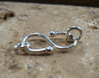 Ball S Clasp Sterling Silver Small 15mm 1pc - Necklace Clasp, Bracelet Clasp, Anklet Clasp, Silver Clasp, Handmade Clasp, Ball Clasp