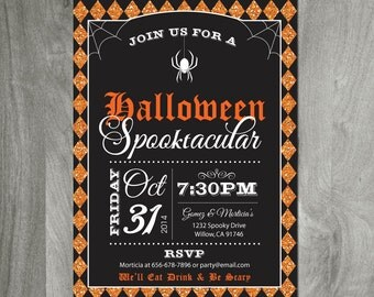 Halloween Party Invitation, Diy Party Printable, Custom, Personalized, JPEG or PDF file, Orange Glitter Effect, Spider, Gothic Invitation