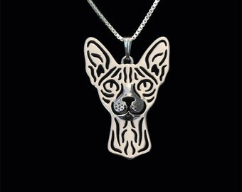 Sphynx cat jewelry - sterling silver pendant and necklace