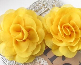 Yellow Fabric Flower / Hair Flower / Fabric Rose Flower / Chiffon Flower /   2pc