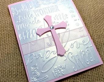 10 3-D Handmade Baptism Invitations, Christening Invitations, Pink or Blue Cross, Baby Girl Pink or Baby Boy Blue, Baptism Invitation