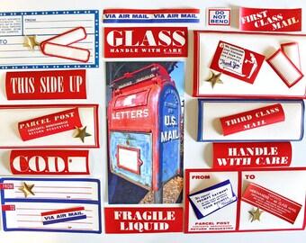 Vintage Assortment of 28 Dennison Mailing Label Pack*Gummed Postal Labels*Red White Blue