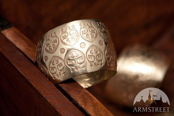 DISCOUNTED PRICE! Medieval Etched Brass Bracelet; Ornament Bracelet; Women's Bracelet