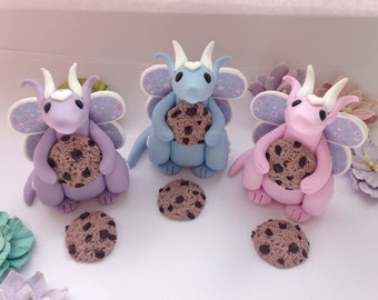 Handmade clay pastel dragon, chocolate chip cookie lover x