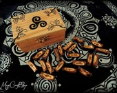21 celtic ogham set made with wood, handmade, with wooden box included and customizable