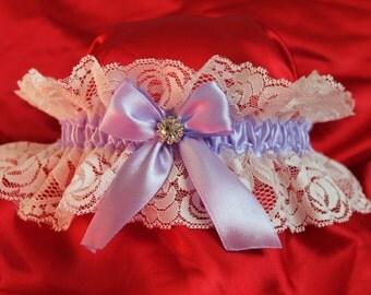 Wedding Garter Something Old, Something New, Something Blue, Ribbon Violet Jeweled Garter, Bridal Garters, Purple Wedding Garter Set