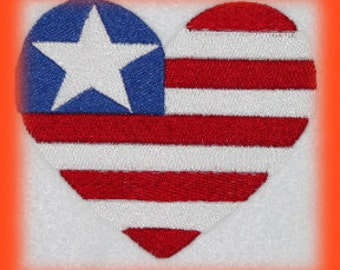 Heart Red White and Blue 4th of July Holiday  Machine Embroidery Digitized File ONLY
