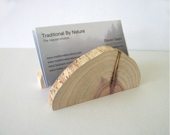 Adjustable Cedar Wood Business Card Holder Tree Branch Slice Rustic Wooden Card Holder Take Down Design