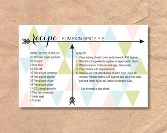Printable & Editable Recipe Cards: Instant Download Modern Triangle