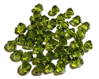 25 - 6mm Olivine, 5301 Swarovski Crystals