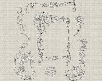 Floral Scroll Frame And Embellishments Clip Art, Photoshop Brushes, Digital Stamp,Line Art, CU, Wedding, Scrapbooking, Printables
