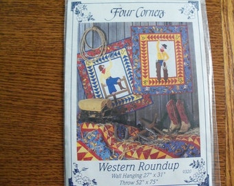 Cowboy,Cowgirl Quilting Pattern,Western Roundup,Four Corners - FREE SHIPPING