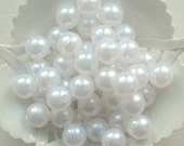 Beads Plastic white 9 mm Round 15 pcs pearl-shell Beads white