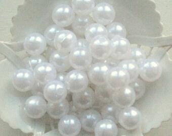 Beads Plastic white 10 mm Round 15 pcs pearl-shell Beads white